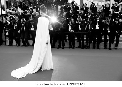 CANNES, FRANCE - MAY 09: Actress Louise Bourgoin attends the screening of 'Yomeddine' during the 71st Cannes Film Festival on May 9, 2018 in Cannes, France.