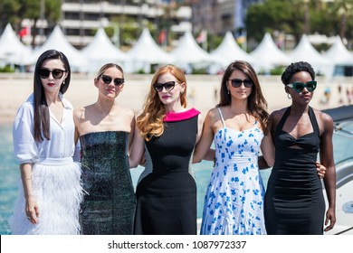CANNES, FRANCE - MAY 10, 2018: Fan Bing Bing, Marion Cotillard, Jessica Chastain , Penelope Cruz and Lupita Nyong'o attend the '355' Photocall during the 71st annual Cannes Film Festival