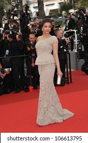 """CANNES, FRANCE - MAY 11, 2011: Aishwarya Rai Bachchan at the gala premiere for """"Midnight in Paris"""" the opening film at the 64th Festival de Cannes. May 11, 2011  Cannes, France"""