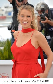 """CANNES, FRANCE - MAY 11, 2016: Actress Blake Lively at the photocall for """"Cafe Society"""" at the 69th Festival de Cannes."""