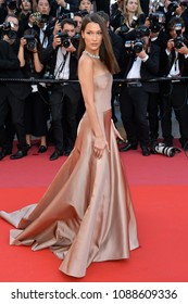 "CANNES, FRANCE. May 11, 2018: Bella Hadid at the gala screening for ""The Eternals"" at the 71st Festival de Cannes"