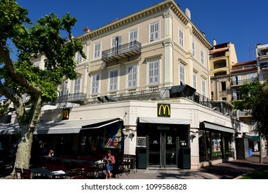 Cannes France - May 11, 2018:  American fast food restaurant McDonald's on Rue Félix Faure in the resort town that caters to the rich.