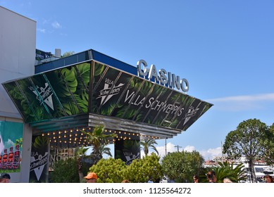 Cannes, France - May 11, 2018:  Casino in Palais des Festivals (Palace of Festivals) on Boulevard de la Croisette