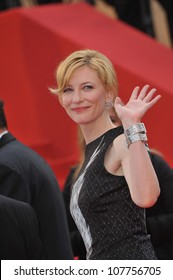 """CANNES, FRANCE - MAY 12, 2010: Cate Blanchett  at the premiere of her movie """"Robin Hood"""" the opening film at the 63rd Festival de Cannes."""