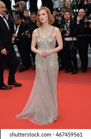 """CANNES, FRANCE - MAY 12, 2016: Actress Jessica Chastain at the gala premiere for """"Money Monster"""" at the 69th Festival de Cannes."""
