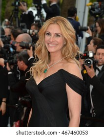 """CANNES, FRANCE - MAY 12, 2016: Actor Julia Roberts at the gala premiere for """"Money Monster"""" at the 69th Festival de Cannes."""