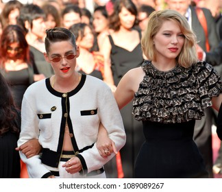"CANNES, FRANCE. May 12, 2018: Kristen Stewart & Lea Seydoux at the gala screening for ""Girls of the Sun"" at the 71st Festival de Cannes"