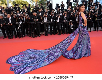 "CANNES, FRANCE. May 12, 2018: Aishwarya Rai at the gala screening for ""Girls of the Sun"" at the 71st Festival de Cannes"