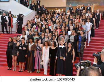 "CANNES, FRANCE. May 12, 2018: Cate Blanchett, Ava DuVernay, Khadja Nin, Thierry Fremaux, Francoise Nyssen, Kristen Stewart, Lea Seydoux & Women Filmmakers at the gala screening for ""Girls of the Sun"""