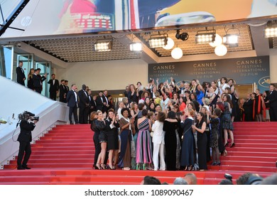 "CANNES, FRANCE. May 12, 2018: Cate Blanchett, Ava DuVernay, Khadja Nin, Thierry Fremaux, Francoise Nyssen, Kristen Stewart, Lea Seydoux & Women Filmmakers at the screening for ""Girls of the Sun"""