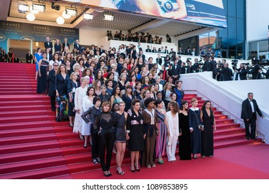 """CANNES, FRANCE - MAY 12, 2018:  Film representatives  protest of the lack of female filmmakers honored throughout the history of the festival at the screening of 'Girls Of The Sun"""" on Cannes festival"""