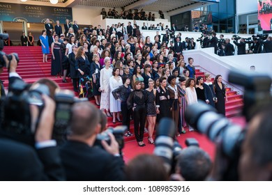 "CANNES, FRANCE - MAY 12, 2018: 82 women protest of lack of female filmmakers honored throughout the history of the festival at the screening of 'Girls Of The Sun"" during the 71 Cannes film festival"