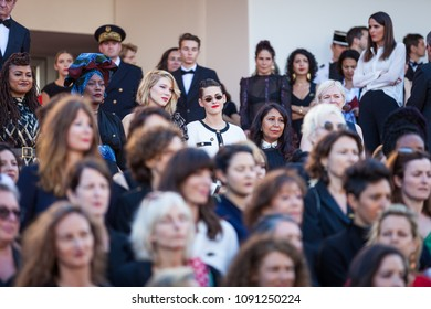 CANNES, FRANCE - MAY 12, 2018: Lea Seydoux and Kirsten Stewart with other filmmakers on the steps of the red carpet during 71st Cannes Film Festival