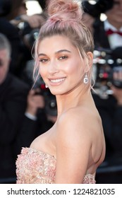 Cannes, France, May 12, 2018,Hailey Baldwin, attends the screening of 'Girls Of The Sun (Les Filles Du Soleil)' during the 71st annual Cannes Film Festival at Palais des Festivals.