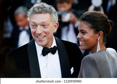 CANNES, FRANCE - MAY 12: Tina Kunakey and Vincent Cassel attend the screening of 'Girls Of The Sun' during the 71st Cannes Film Festival on May 12, 2018 in Cannes, France.