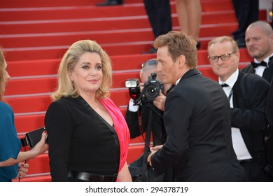 CANNES, FRANCE - MAY 13, 2015: Catherine Deneuve at the gala opening ceremony of the 68th Festival de Cannes.