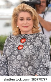 CANNES, FRANCE - MAY 13, 2015: Catherine Deneuve at photocall for her movie Standing Tall at the 68th Festival de Cannes.
