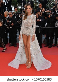 "CANNES, FRANCE. May 13, 2018: Izabel Goulart at the gala screening for ""Sink or Swim"" at the 71st Festival de Cannes"
