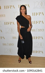 CANNES, FRANCE. May 13, 2018: Laura Harrier at the Hollywood Foreign Press Association Party at Nikki Beach at the 71st Festival de Cannes