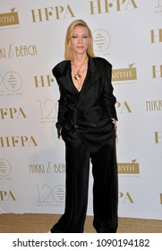 CANNES, FRANCE. May 13, 2018: Cate Blanchett at the Hollywood Foreign Press Association Party at Nikki Beach at the 71st Festival de Cannes