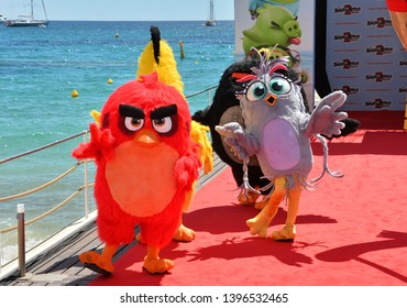 "CANNES, FRANCE. May 13, 2019: Angry Birds at the photocall for ""The Angry Birds Movie 2"" at the Festival de Cannes.