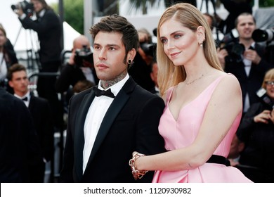 CANNES, FRANCE - MAY 13: Chiara Ferragni and Fedez attend the premiere of  'Sink Or Swim' during the 71st Cannes Film Festival on May 13, 2018 in Cannes, France.