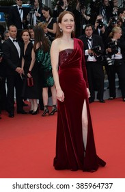 """CANNES, FRANCE - MAY 14, 2015: Julianne Moore at the gala premiere of """"Mad Max: Fury Road"""" at the 68th Festival de Cannes."""