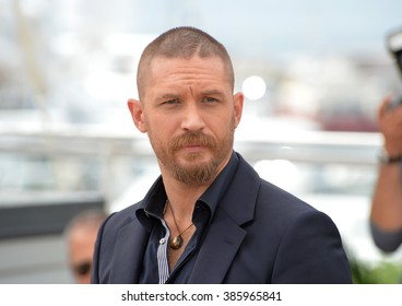"""CANNES, FRANCE - MAY 14, 2015: Tom Hardy at the photocall for his movie """"Mad Max: Fury Road"""" at the 68th Festival de Cannes."""