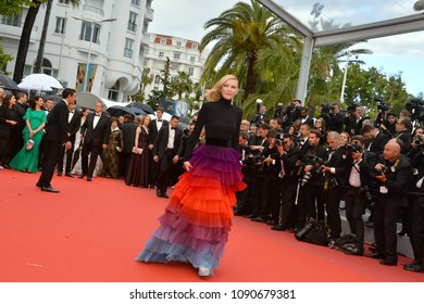 "CANNES, FRANCE. May 14, 2018: Cate Blanchett at the gala screening for ""BLACKKKLANSMAN"" at the 71st Festival de Cannes"