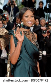 "CANNES, FRANCE. May 14, 2018: Naomi Campbell at the gala screening for ""BLACKKKLANSMAN"" at the 71st Festival de Cannes"