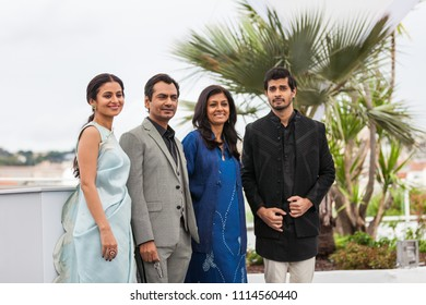CANNES, FRANCE - MAY 14, 2018: Rasika Dugal, Nawazuddin Siddiqui, writer Nandita Das and Tahar Rahim attend the photocall for 'Manto' during the 71st annual Cannes Film Festival