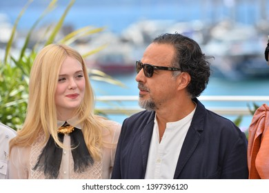 CANNES, FRANCE. May 14, 2019: Elle Fanning & Alejandro Gonzalez Inarritu at the photocall for Jury at the 72nd Festival de Cannes.