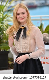 CANNES, FRANCE. May 14, 2019: Elle Fanning at the photocall for Jury at the 72nd Festival de Cannes.