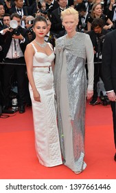 "CANNES, FRANCE. May 14, 2019: Selena Gomez & Tilda Swinton at the gala premiere for ""The Dead Don't Die"" at the Festival de Cannes.