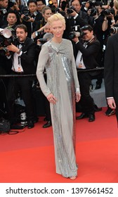 "CANNES, FRANCE. May 14, 2019: Tilda Swinton at the gala premiere for ""The Dead Don't Die"" at the Festival de Cannes.
