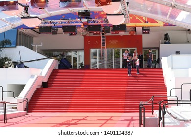 Cannes, France - May 14, 2019: Red Carpet Stairway At Palais Des Festivals Et Des Congres Before Opening Ceremony Of The Cannes Film Festival 2019 In Cannes, France, French Riviera, Europe