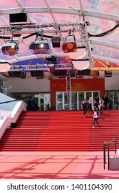 Cannes, France - May 14, 2019: Famous Red Carpet Stairway At Palais Des Festivals Et Des Congres Before Opening Ceremony Of The Cannes Film Festival 2019 In Cannes, France, French Riviera, Europe
