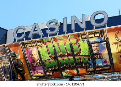 Cannes, France - May 14, 2019: Casino Barriere Cannes Le Croisette at the Palais Des Festivals Et Des Congres Building in the City Center of Cannes, France, French Riviera, Europe