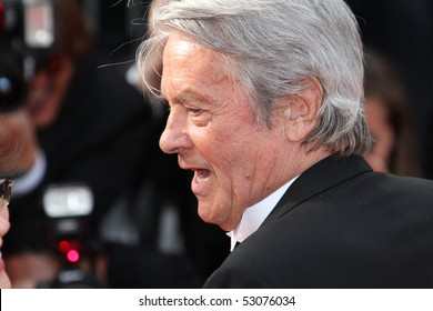 CANNES, FRANCE - MAY 14:  Alain Delon attends the 'Il Gattopardo' premiere held at the Palais des Festivals during the 63rd  Cannes Film Festival on May 14, 2010 in Cannes, France
