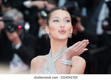 CANNES, FRANCE - MAY 14:  Bella Hadid attends the screening of BlacKkKlansman during the 71st Cannes Film Festival at Palais des Festivals on May 14, 2018 in Cannes, France.