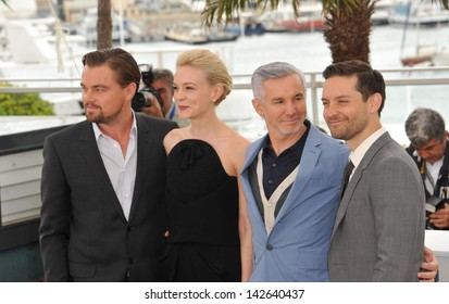 """CANNES, FRANCE - MAY 15, 2013: Leonardo DiCaprio, director Baz Luhrmann, Carey Mulligan & Tobey Maguire at the photocall for their movie """"The Great Gatsby"""" at the 66th Festival de Cannes."""