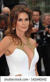 """CANNES, FRANCE - MAY 15, 2013: Cindy Crawford at the premiere of """"The Great Gatsby"""" the opening movie of the 66th Festival de Cannes."""