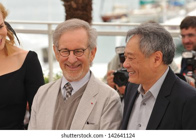 CANNES, FRANCE - MAY 15, 2013: Steven Spielberg & Ang Lee (right) at the photocall for the Jury of the 66th Festival de Cannes.