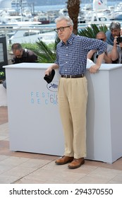 """CANNES, FRANCE - MAY 15, 2015: Director Woody Allen at the photocall for his movie """"Irrational Man"""" at the 68th Festival de Cannes."""