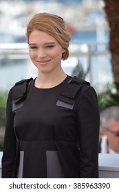"""CANNES, FRANCE - MAY 15, 2015: Lea Seydoux at the photocall for her movie """"The Lobster"""" at the 68th Festival de Cannes."""