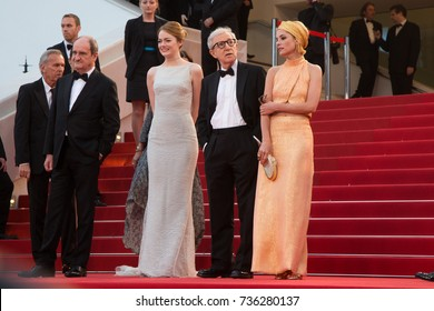 CANNES, FRANCE - MAY 15, 2015: Parker Posey, Woody Allen, Emma Stone  attend the 'Irrational Man' premiere. 68th annual Cannes Film Festival at the Palais des Festivals