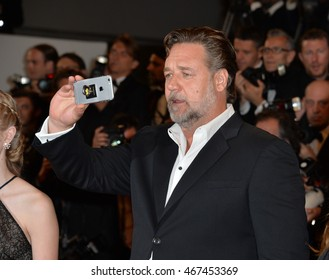 """CANNES, FRANCE - MAY 15, 2016: Actor Russell Crowe at the gala premiere for """"The Nice Guys"""" at the 69th Festival de Cannes."""
