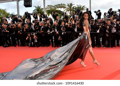 "CANNES, FRANCE. May 15, 2018: Winnie Harlow at the gala screening for ""Solo: A Star Wars Story"" at the 71st Festival de Cannes"