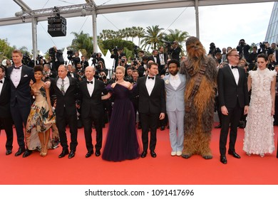 "CANNES, FRANCE. May 15, 2018: Director Ron Howard & cast at the gala screening for ""Solo: A Star Wars Story"" at the 71st Festival de Cannes"