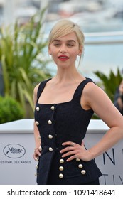 """CANNES, FRANCE. May 15, 2018: Emilia Clarke at the photocall for """"Solo: A Star Wars Story"""" at the 71st Festival de Cannes"""